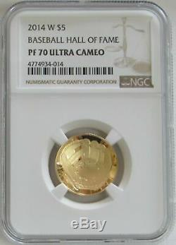 2014 W Gold Proof $5 Baseball Hall Of Fame Coin Ngc Pf 70 Uc