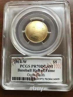 2014w gold OZZIE SMITH PR70DCAM $5 PCGS Baseball Hall of Fame! ONLY 17 EXIST