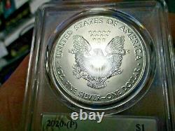 2020 P American Silver Eagle POP 7 ms70 TOM GLAVIN BASEBALL HALL OF FAME FDOI