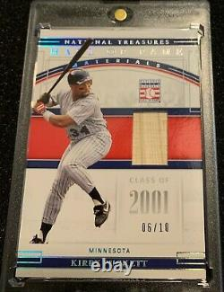 2020 Panini National Treasures KIRBY PUCKETT Hall Of Fame LOGO Patch # 1/1 TWINS