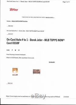2020 TOPPS NOW DEREK JETER #OS-59F HALL OF FAME INDUCTEE AUTOGRAPH #'d 1/1 AUTO