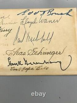 BASEBALL HALL OF FAME MULTI-SIGNED 3x5 12 AUTOS Hubbell Hank Greenberg Waner