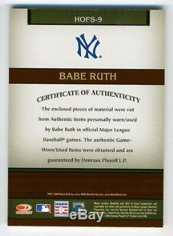 Babe Ruth DUAL RELIC Jersey Bat 2005 Donruss Greats Hall of Fame YANKEES SP/50
