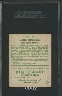 Carl Hubbell 1933 Goudey #230 SGC 50 / 4 Hall of Fame Nice Eye Appeal