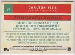 Carlton Fisk 2021 Tribute Auto 1/1 On Card Black Refractor Red Sox Hall of Fame