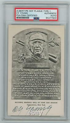 Cy Young Signed Type 1 Albertype Hall of Fame Plaque Postcard, HOF. PSA