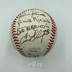 Ernie Banks Willie Stargell Bob Gibson Hall Of Fame Multi Signed Baseball JSA