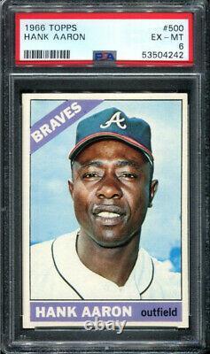 Hank Aaron 1966 Topps #500 PSA 6 Hall of Fame Sharp Card / Just Graded