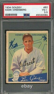 Hank Greenberg 1934 Goudey Rookie #62 PSA 3.5 Hall of Fame Red Hot Card