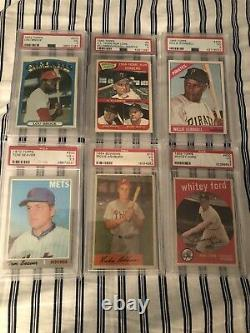 Huge 84 Card Psa Hall Of Fame Lot Mantle Mays Koufax Clemente Seaver Spahn