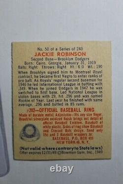 Jackie Robinson 1949 Bowman #50 Rookie Card Hall of Fame Dodgers Miscut