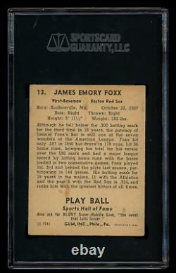 Jimmie Foxx 1941 Play Ball #13 SGC 3 Hall of Fame Slugger/500 Home Run Club