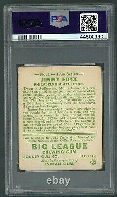 Jimmy Foxx 1934 Goudey #1 PSA 1 Hall of Fame Legend Nice/Clean Example