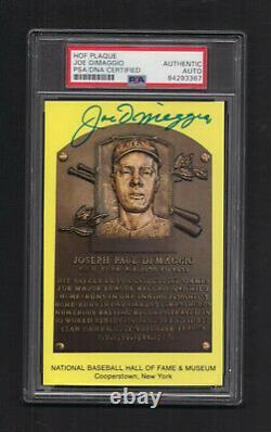 Joe DiMaggio Signed Gold Baseball Hall of Fame Postcard-PSA/DNA Slab-Yankees