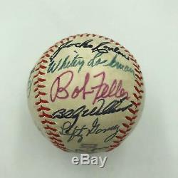 Joe Dimaggio Sandy Koufax Ernie Banks Hall Of Fame Multi Signed Baseball JSA COA
