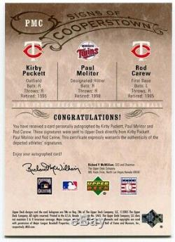 KIRBY PUCKETT Paul Molitor Rod Carew 2005 UD Hall of Fame /20 Triple Auto Signed