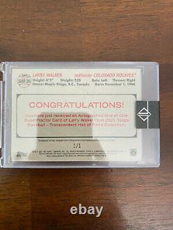 Larry Walker 2021 Topps Transcendent Hall of Fame HOF Superfractor Auto #'d 1/1