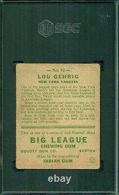 Lou Gehrig 1933 Goudey #92 SGC 3 Hall of Fame Icon Top 10 Baseball Card