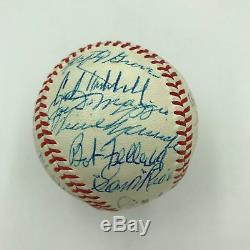 Magnificent Hall Of Fame Multi Signed Baseball (27) Mickey Mantle Dimaggio PSA