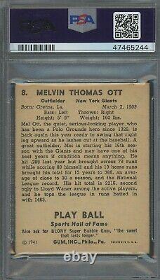 Mel Ott 1941 Play Ball #8 PSA 4 Hall of Fame Slugger / 500 Home Run Club