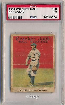 NAP LAJOIE 1914 Cracker Jack E145-1 #66 PSA 1 PR CLEVELAND HALL OF FAME Prewar