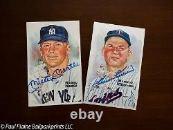 Perez-Steele Hall of Fame Art Post Cards Complete Set 1-15 #6490 Mantle Signed