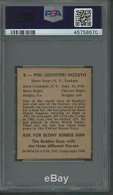 Phil Rizzuto 1948 Bowman Rookie #8 PSA 5 Yankees Hall of Fame / Centered
