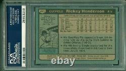Rickey Henderson 1980 Topps Rookie #482 PSA 6 Hall of Fame Speedster