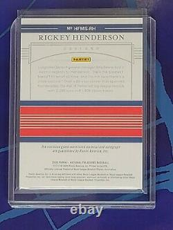 Rickey Henderson 2020 National Treasures Hall Of Fame Jersey Autograph #/25 GOLD