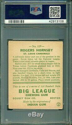Rogers Hornsby 1933 Goudey #119 PSA 3 Hall of Fame Great Eye Appeal