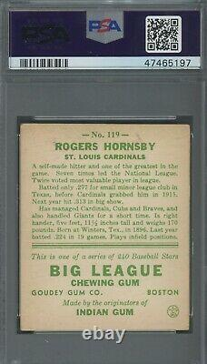 Rogers Hornsby 1933 Goudey #119 PSA 4 Hall of Fame Terrific Eye Appeal