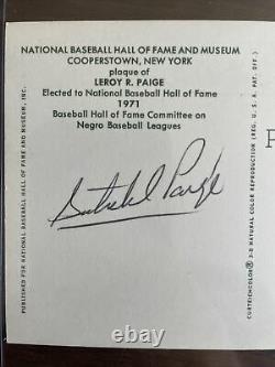 Satchel Paige PSA DNA Coa Signed On Back Gold Hall Of Fame Plaque Autograph