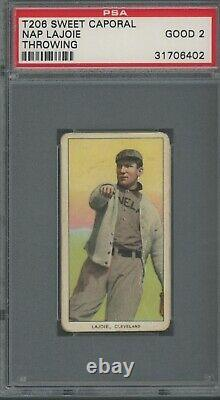 T206 Napoleon Lajoie Throwing PSA 2 Sweet Caporal 150/649OP Hall of Fame