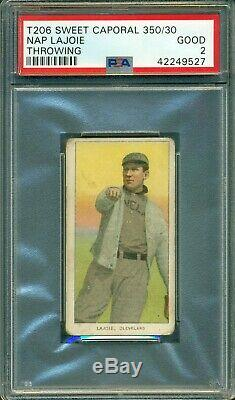T206 Napoleon Lajoie Throwing PSA 2 Sweet Caporal 350/30 Hall of Fame