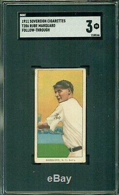T206 Rube Marquard Follow SGC 3 Sovereign 460 Hall of Fame Pitcher