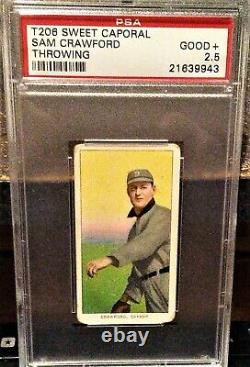 T206 Sam Crawford Psa 2.5 Throwing / 1909-1911 Sweet Caporal Hall Of Fame