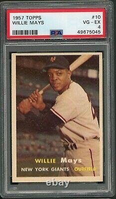 Willie Mays 1957 Topps #10 PSA 4 Hall of Fame Slugger / Baseball Legend