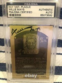 Willie Mays PSA/DNA CERTIFIED Autograph Hall of Fame Plaque Signed Autograph PSA
