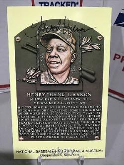 Yellow Hall Of Fame Plaque Post Card Hank Aaron Auto! Signature Braves HOF Rare