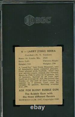 Yogi Berra 1948 Bowman Rookie #6 SGC 3 Yankees Great / Hall of Fame